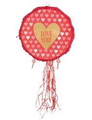 Piñata cœur Love you rouge et or 40 cm
