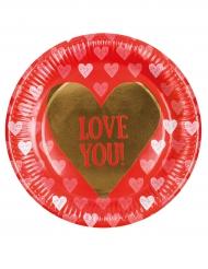 6 Assiettes en carton Love you 23 cm