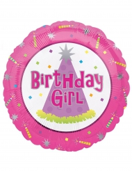 Ballon aluminium Birthday girl rose 45 cm