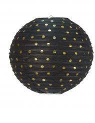 Lanterne ronde noire et pois dorés 35 cm
