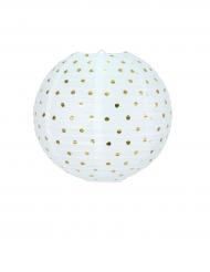 Lanterne ronde blanche à pois dorés 35 cm