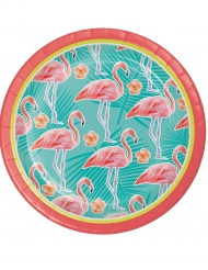 8 Petites assiettes en carton Flamant Rose 18 cm