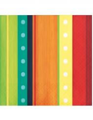 16 Petites serviettes Mexicaines 25 x 25 cm