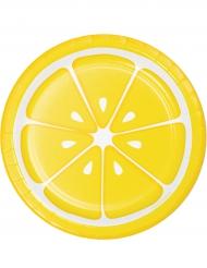 8 Petites Assiettes en carton citron 18 cm