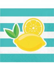 16 Serviettes en papier citron 33 x 33 cm
