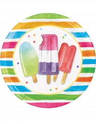 8 Assiettes en carton Hello Summer 22 cm