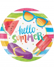 8 Petites assiettes en carton Hello Summer 18 cm