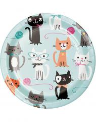 8 Petites assiettes en carton avec chats 18 cm