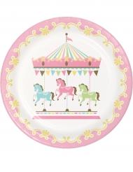 8 Assiettes en carton Carrousel 22 cm