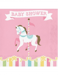 16 Serviettes en papier Carrousel baby shower 33 x 33 cm