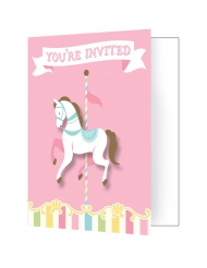 8 Cartes d'invitation avec enveloppes Carrousel 10.5 x 12.5 cm