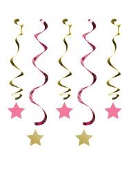 5 Suspensions spirales One Little Star roses et dorées 76 et 99 cm