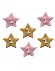 Petites étoiles premier anniversaire en sucre fille 2.5 cm
