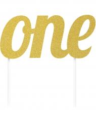 Décoration pour gâteaux 1 an lettres dorées pailletées 7 x 15 cm