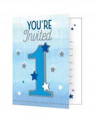 8 Cartons d'invitation premier anniversaire garçon One Little Star 10 x 12 cm