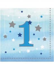 16 Serviettes en papier premier anniversaire One Little Star bleues 33 x 33 cm