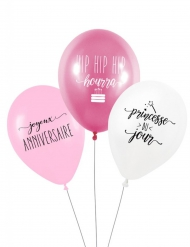 3 Ballons latex biodégradable Princesse du jour 27 cm