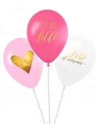 3 Ballons latex biodégradable C'est une fille 27 cm