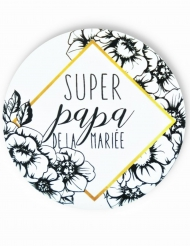 Badge épingle Papa de la mariée 56 mm