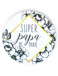 Badge épingle Papa du marié 56 mm