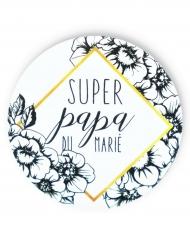 Badge épingle Papa du marié 56 mm
