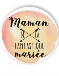 Badge épingle aquarelle Maman de la mariée 56 mm
