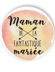 Badge épingle aquarelle Maman de la mariée 56 mm