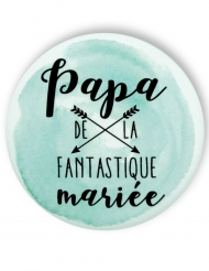Badge épingle aquarelle Papa de la mariée 56 mm