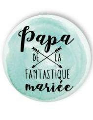 Badge épingle aquarelle Papa de la mariée 56 mm