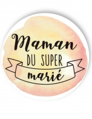 Badge épingle aquarelle Maman du marié 56 mm