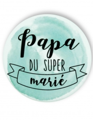 Badge épingle aquarelle Papa du marié 56 mm