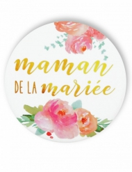 Badge épingle fleuri Maman de la mariée 56 mm