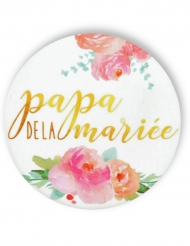 Badge épingle fleuri Papa de la mariée 56 mm