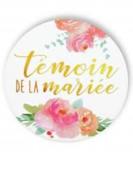 Badge épingle fleuri Témoin de la mariée 56 mm