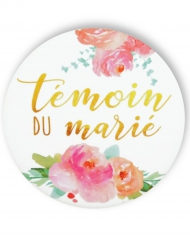 Badge épingle fleuri Témoin du marié 56 mm