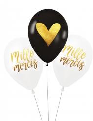 3 Ballons latex biodégradable Milles mercis 27 cm