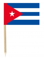 Lot de 50 drapeaux mini-piques Cuba 3 x 4.5 cm