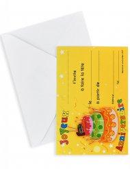 6 cartes d'invitation avec enveloppes Joyeux anniversaire gâteau