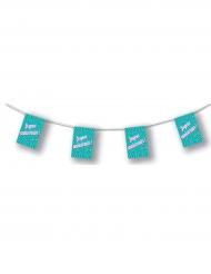 Guirlande papier turquoise Joyeux Anniversaire 4,5 m
