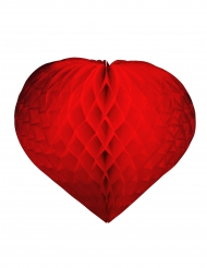 Coeur papier rouge ignifugé Saint-Valentin 30 cm