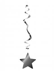 6 suspensions métallisées ignifugées étoile argent 80 cm
