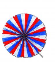 Rosace éventail en papier tricolore 50 cm