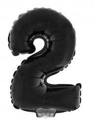 Ballon aluminium chiffre 2 noir 40 cm