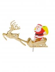 Décoration en plastique Père Noël sur son traîneau doré 5 cm