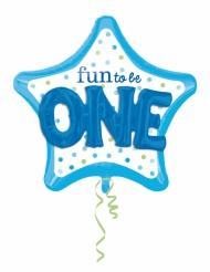 Ballon aluminium bleu  Fun to be O-N-E  91 X 91 cm