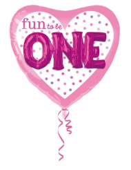 Ballon aluminium rose  Fun to be ONE  91 X 91 cm