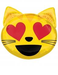 Ballon aluminium émoticône chat coeur dans les yeux 55 x 55 cm