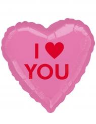 Ballon aluminium coeur rose I Love You 43 cm