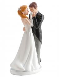 Figurine mariés baiser à la main 16 cm