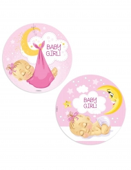 Disque azyme Baby Shower fille 20 cm